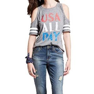 Tops - ⚫️5 FOR $25⚫️ NWT USA ALL DAY Cold Shoulder Tee M